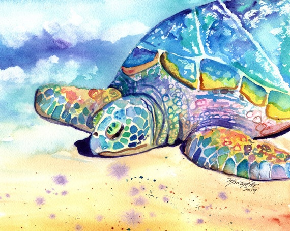 Turtle art print, baby shower, turtle gifts, beach decor, nursery wall art, turtle artwork, turtle art for kids,  sea turtle painting