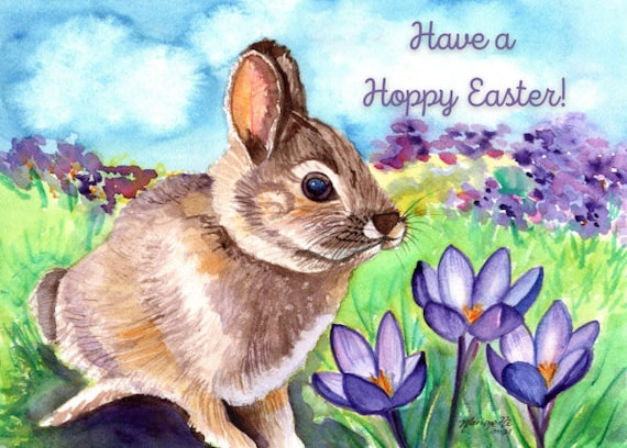 Easter Bunny Card, Printable Card, Easter Greeting Cards, Download Greeting Card, Spring Rabbit, Watercolor Bunny