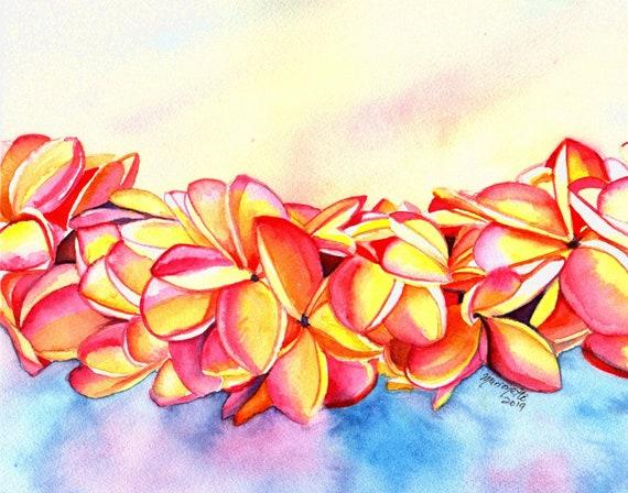 Plumeria Art, Plumeria Print, Plumeria Lei, Tropical Flowers, Frangipani, Kauai Art, Hawaii Painting, Plumeria Painting, Hawaiian Decor