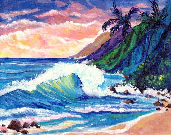 Kauai Art Print, Hawaii Art, Na Pali Coast Kauai, Kauai Painting, Kauai Beach Art, Beach Painting, Seascape Painting, Hawaii Decor
