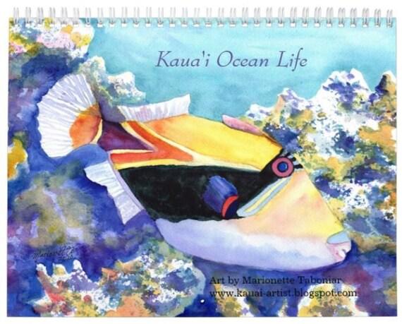 Kauai Ocean Life 2021 Wall Calendar, 2021 Calendar, Hawaii Calendar, Illustrated Calendar, Kauai Calendars, Art Calendar, Artist Calendar