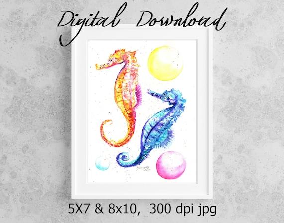 Seahorse Print Digital Download 8x10 5x7 jpg Watercolor Print Printable wall art Downloadable Ocean Decor Hawaiian Kids Room Art Ocean Life