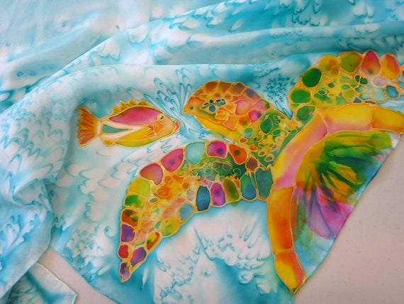 Turtle Silk Scarf - Silk Painting - Handmade Scarf - Hawaii Scarf - Hand Painted Silk - Sea Turtle with Fish - Square Scarf - Square Silk