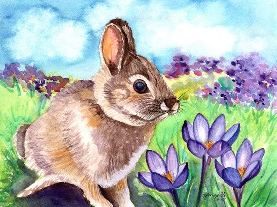 Bunny Painting Original Watercolor, Rabbit Art, Spring Crocus Flowers, Hare Watercolor, Easter Gift, Springtime Bunny Water Color