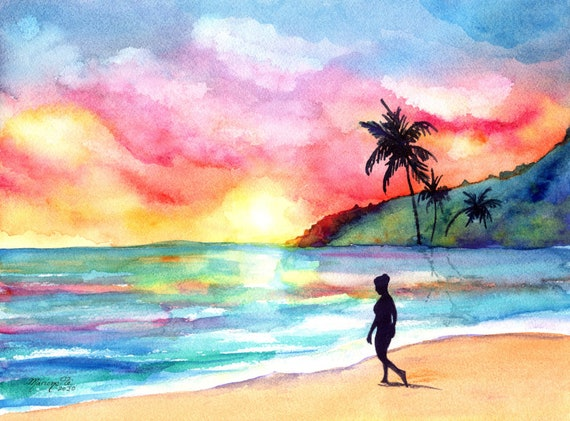 Sunset Beach Painting Hawaiian Original Watercolor Woman Silhouette  Tropical  Hawaii Art Kauai Painting Swimming Lady