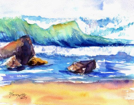 ocean wave print, ocean decor, surf print, surf decor, Hawaii art, Hawaiian decor, tropical beach, kauai art, kauai artist, made in hawaii