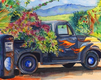 Hanapepe Truck print, Kauai art,  Hanapepe town, old trucks, trucks with flames, tropical truck, Hanapepe art, Hawaiian art, Hawaiian decor