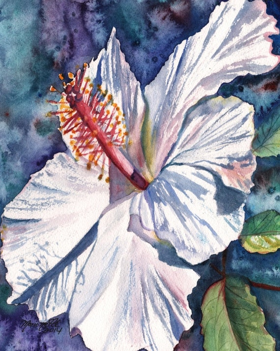 White Hibiscus Art Print, tropical hibiscus art, Kauai Hawaii, Hawaiian flowers, Hawaiian flower art, Hibiscus giclee prints