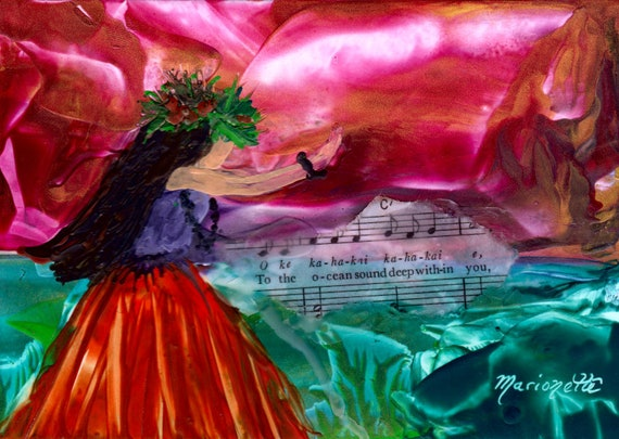 Hula art print, Hula Girl Decor, Hawaiian Hula Art, Hula Paintings, Hawaiian Language, Music Lyrics, Encaustic Art Print, Hawaii Art