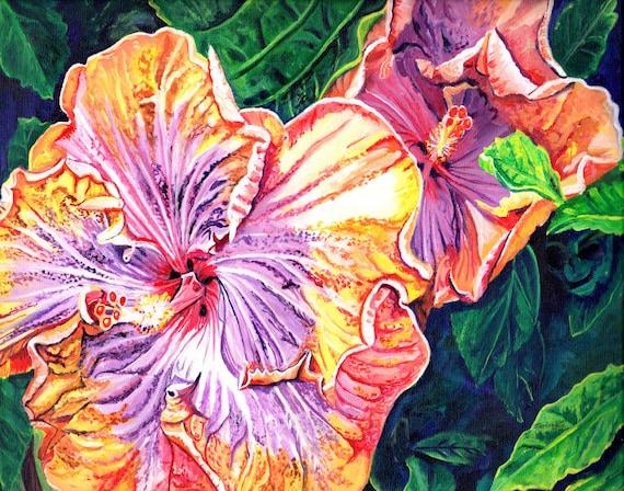 Tropical Hibiscus, Hawaii Painting, Orange Yellow Purple Hibiscus, Hawaii Wall Art, Hawaiian Decor, Oahu Maui Kauai Art