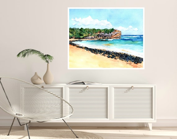 Shipwrecks Beach 5 Large Art Print 16x20 18x24 24x30 Hawaiian Art Kauai Art Hawaiian Decor Hawaii Art Print Kauai Beach