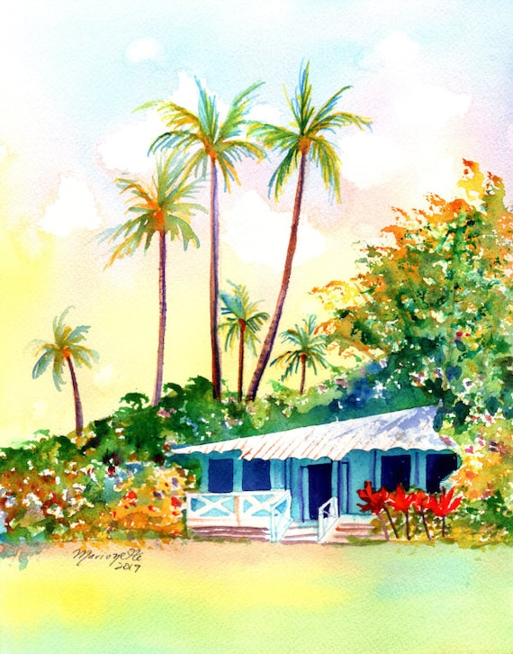 Cottage Art, Cottage Print, Hawaiian Vacation Cottage, Hawaiian Art, Hawaii Print, Waimea Cottages, Kauai Plantation Cottage, Hawaii House