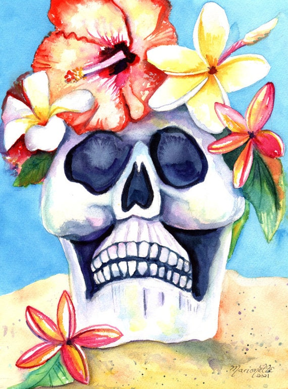 Hawaiian Sugar Skull, Dia De Los Muertos, Watercolor Skull with Plumeria Flowers, Hawaii Halloween, Tropical Skull, Oahu Maui Kauai