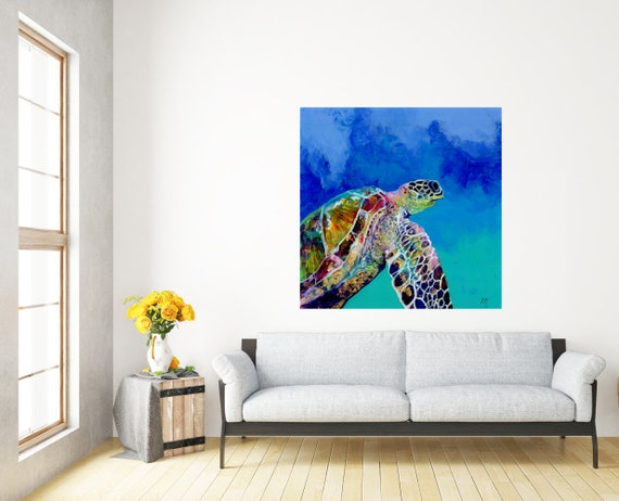 Sea Turtle Honu Large Art Print Square Hawaiian Decor Hawaii Wall Art Honu Swimming Turtle  16x16 24x24 30x30