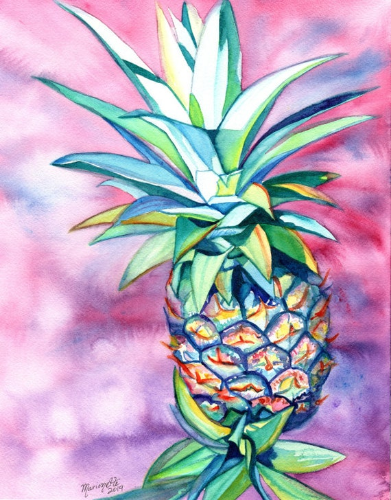 """Balance for custom order for Shelley for an 11""""x14"""" Pineapple Painting"""