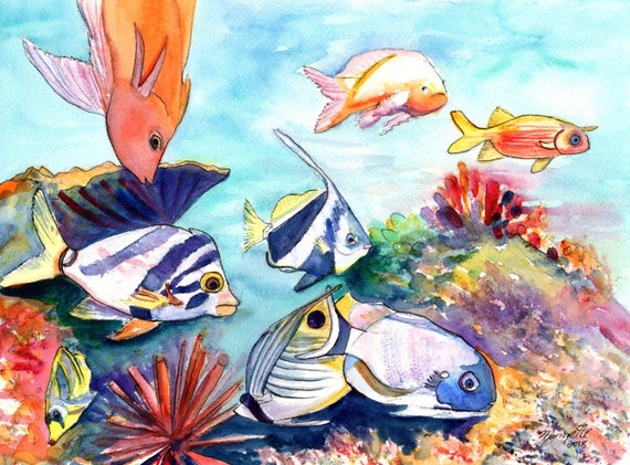 Hawaiian Tropical Fish, watercolor painting, Hawaii fish art, sea life, reef painting, moorish idol, angel fish, hawaii art, ocean paintings