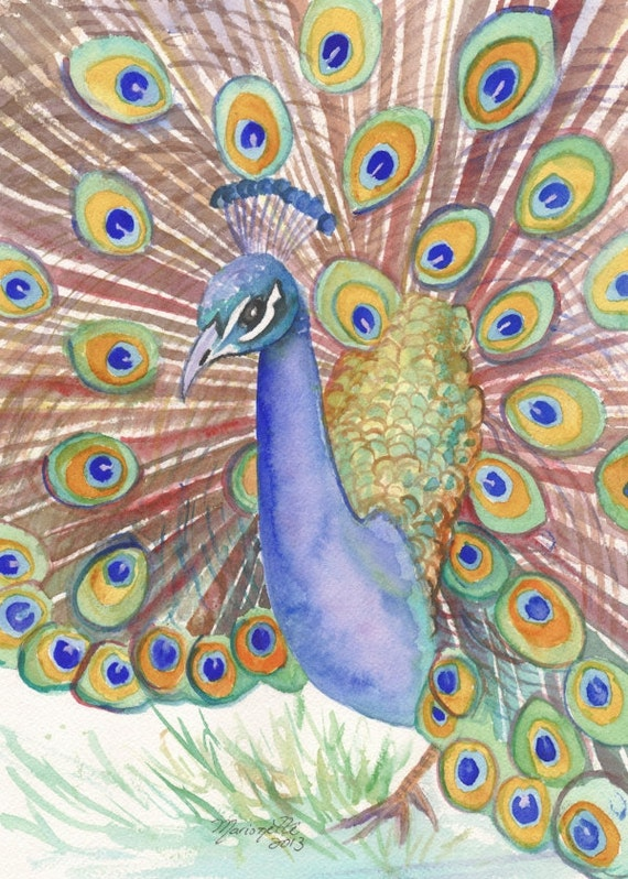 peacock decor, peacock painting, peacock art work, peacock art print, peacock art print, peacock feather art, peacock watercolor