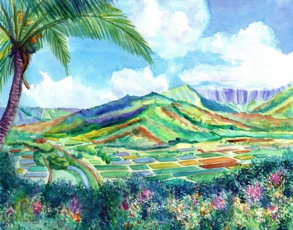 Hanalei Valley Print, Hanalei Lookout, Kauai Painting, Kauai Art, Kauai North Shore, Hawaii Art Print, Hawaiian Painting, Kauai Taro Fields