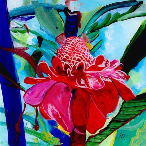 Torch Ginger Original Reverse Acrylic Painting Kauai Hawaii Hawaiian flower Exotic Decor Hawaii Interior Design Etlingera elatior