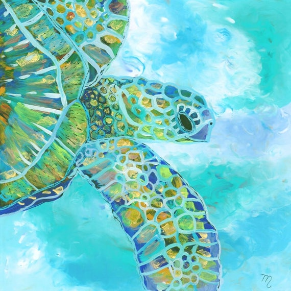 Turtle art prints, Hawaiian art, Kauai art prints, Hawaii painting, Hawaiian honu turtles, sea turtles ocean art, sea turtle decor, for kids