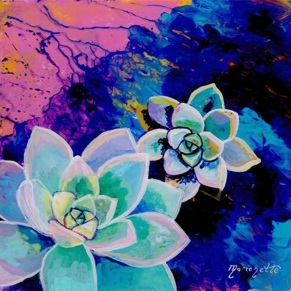 Rosette Succulents, Succulent Painting, Succulent Cactus Art, Tropical Art, Southwest Succulent Paintings, Succulent Plant Print, Hawaii Art