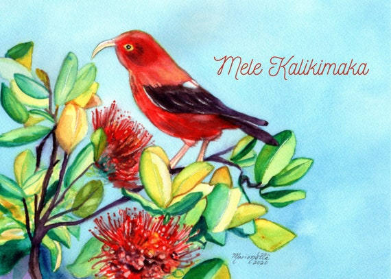 Hawaiian Christmas Card Printable, Mele Kalikimaka Christmas Card Download, Hawaii Christmas, Iiwi Bird, Red Ohia Lehua, DIY Card, 5x7 card