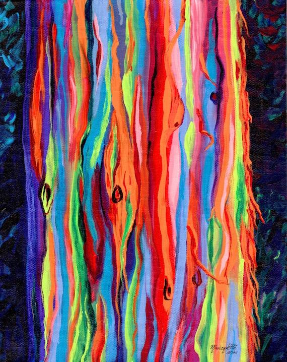 Colorful Rainbow Eucalyptus Tree, Kauai Trees, Eucalyptus Painting, Hawaiian Art, Hawaii Painting, Hawaii Art, Hawaiian Decor