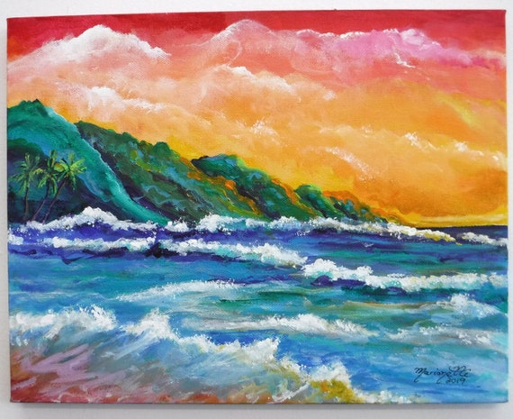 Hawaii Art, Kauai Art, Na Pali Coast Kauai, Kauai Painting, Kauai Beach Art, Beach Painting, Seascape Painting, Original Kauai Art