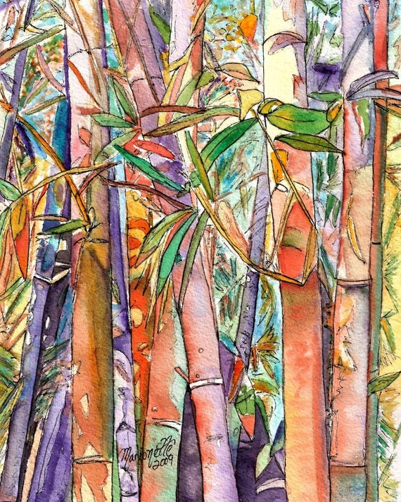 bamboo art print Kauai art Hawaiian art Hawaii prints Oriental bamboo Asian decor Japanese bamboo prints wall art tropical decor