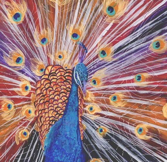Peacock Original Painting - Reverse Acrylic Painting - Purple Peacock - Kids Wall Art - Whimsical Art - Animal Painting - artwork for kids