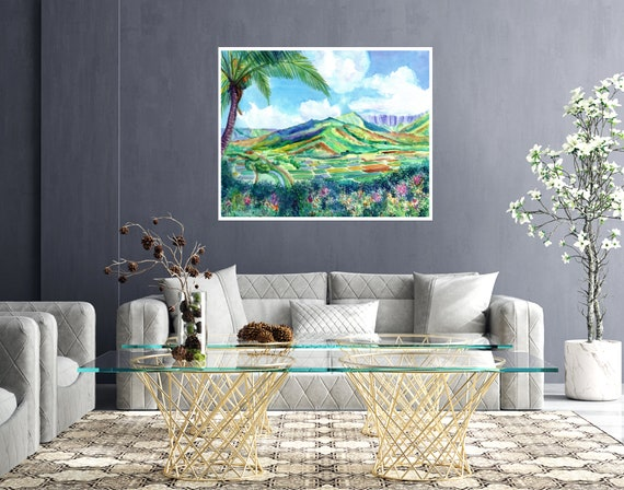 Kauai Hanalei Valley Large Art Print 16x20 18x24 24x30 Hawaiian Art Kauai Art Hawaiian Decor Hawaii Art Print Hanalei Lookout