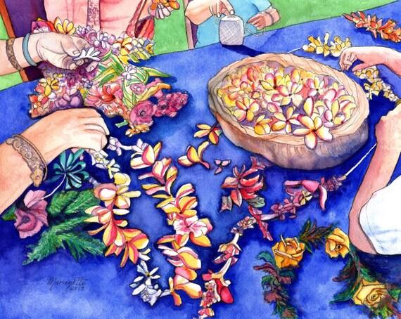 Lei Making Original Watercolor, Hawaiian Lei, May Day, Hawaiian Painters, Hawaiian Flowers, May Day is Lei Day, Hawaii Art, Hawaiian Ladies