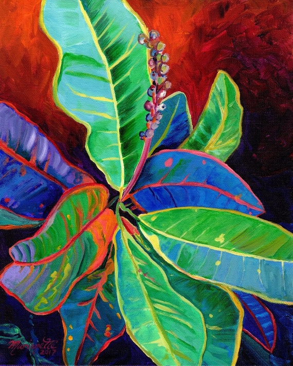 Croton Leaves, croton art print, tropical leaves, Hawaiian plants, Hawaii art, tropical foliage, Kauai art, Maui art, Oahu paintings