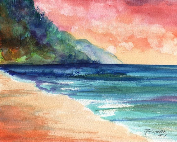 sunset art, sunrise print, kauai beach, Kauai prints,  hawaii beaches, hawaiian paintings, ocean waves, kee beach, na pali coast
