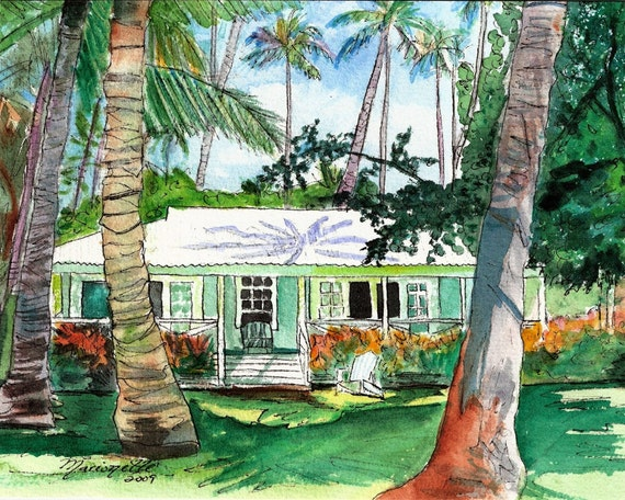 Kauai Plantation Cottage - Kauai Art Print - Hawaiian Wall Decor - Tropical House Art - Waimea Plantation Cottages - Hawaiian Art