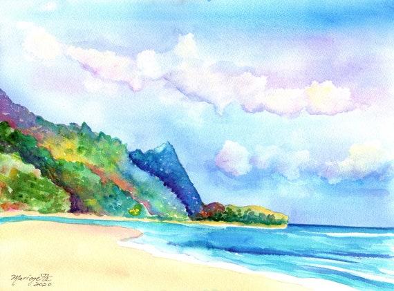 Kauai Tunnels Beach Original Watercolor by Marionette Taboniar from Kauai Hawaii   Hawaiian Paintings  Kauai Seascapes