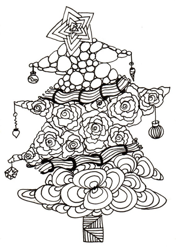Printable DIY Zendoodle Christmas Tree card 5x7 pdf from Kauai Hawaii Mele Kalikimaka Christmas doodle black white zentangle inspired art