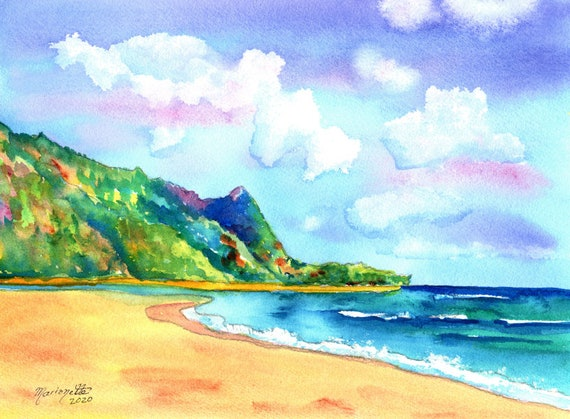 Kauai Tunnels Beach Original Watercolor by Marionette Taboniar from Kauai Hawaii   Hawaiian Paintings  Kauai Seascapes