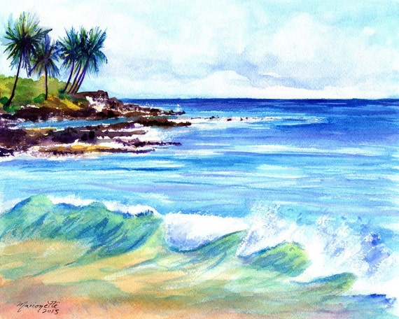 Kauai Art, Brennecke's Beach Art, Brenneckes Beach Decor, Hawaii Decor, Poipu Beach Art, Ocean Print, Surf Art, Hawaiian Art, Kauai Wall Art