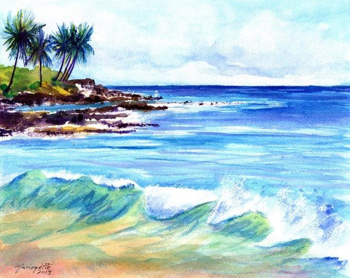 Brennecke's  Beach - Poipu Kauai Hawaii - 8 x 10 Art Print - Beach Wave Art - Kauai Surfing Art - Beach Sand Ocean Print - Hawaiian Decor