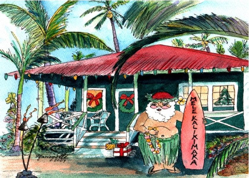 Printable DIY Hawaiian Christmas card 5x7 pdf from Kauai | Etsy