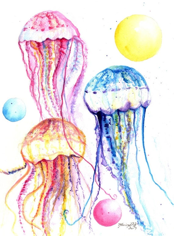 Jelly Fish Print,  Jellyfish watercolor, Hawaii art, jelly fish painting, ocean art, Hawaii painting, nursery art, animal print Hawaii decor