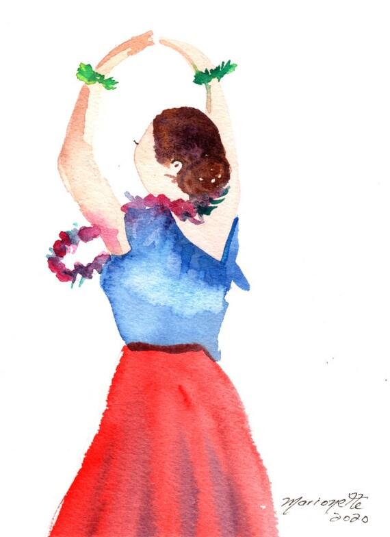 Original Hula Painting, Hawaii Decor, Hula Art, Hula Girl, Hula Dancer, Hula Waterolor,  Kauai Art, Kalea, Hula Gifts, Hawaiian Art