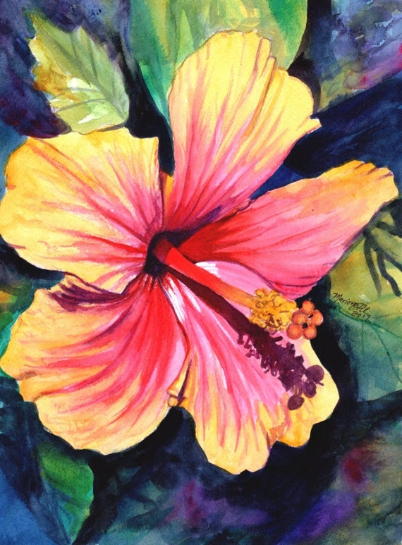 Hibiscus Print, Hibiscus Art, Hibiscus Painting, Pink Red Hibiscus, Tropical Flower art, Hawaii art, Hawaiian Hibiscus, Hawaiiana, Kauai art