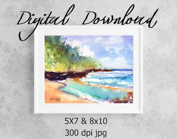 Kauai South Shore Beach Print, Printable Wall Art, Downloadable Art, Poster Art, DIY Prints, Kauai Art, Print it now at home, Print it out