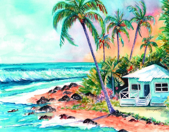 Cottage on the Beach, Kauai beach art, Hawaii art, Hawaiian artwork, Kauai painting, House by the Sea, Hawaii Seascape, Hawaiian Vacation