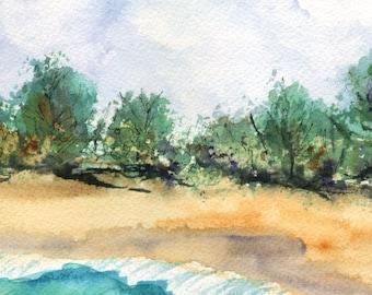 beach art prints 5x7 giclee print beach paintings of beaches seascape wall art hawaiian art work teal turquoise blue sand green ocean