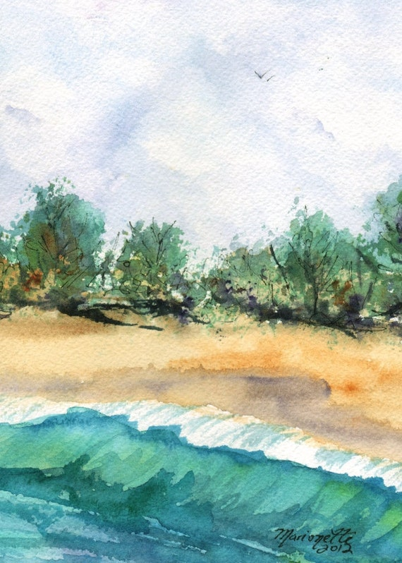 beach art prints 5x7 giclee print beach paintings of beaches seascape wall art hawaiian art work teal turquoise blue sand green ocean