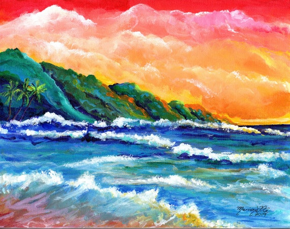 Hawaii Art, Kauai Art Print, Na Pali Coast Kauai, Kauai Painting, Kauai Beach Art, Beach Painting, Seascape Painting, Hawaii Decor
