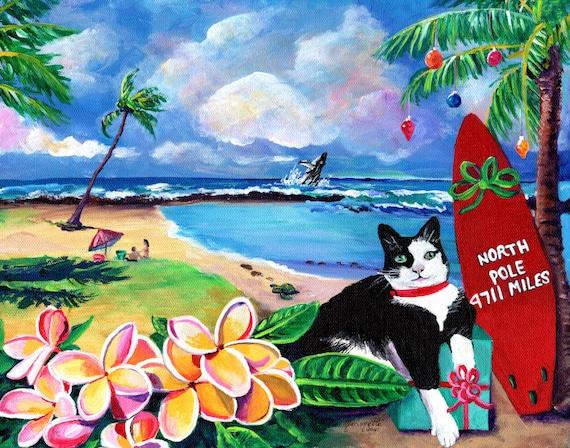 Mele Kalikimaka Kitty at Poipu Beach, Hawaii Christmas Art, Fun Christmas Beach Print, Tropical Christmas, Cat Lovers Holiday Art, Kauai